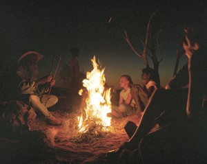 Storytelling around a campfire